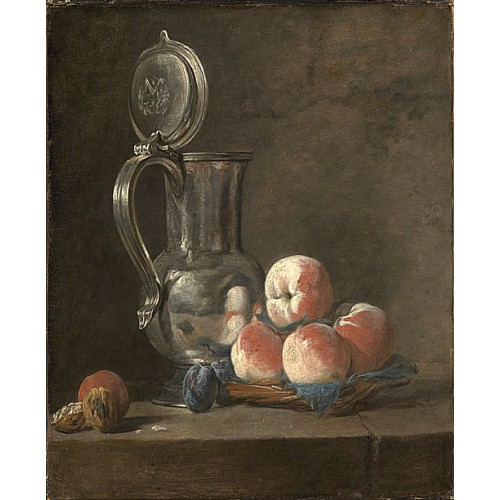 錫罐和桃子的靜物 Still Life with Tin Pitcher and Peaches