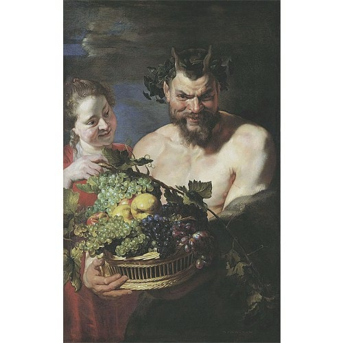 薩梯和女僕與水果籃 Satyr and Maid with Fruit Basket